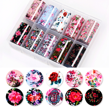 1 Box Nail Foils Summer Theme Black Yellow Flower Series Nail Stickers Adhesive Paper DIY Transfer Sticker Nail Art Decorations image