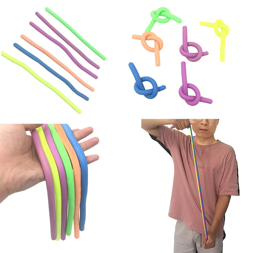 Hand Stretchy Noodles Rope Anti Stress Toys String Fidget Autism Vent Toys For Kids