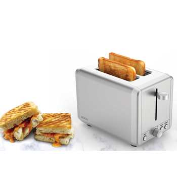 TOASTER 2 SLICES, 2 MOUTHS WIDE, 925 W, AUTO-APAGO, Stainless steel-defrost and superheat electric toaster toaster 4 slices extra reinforced material good quality mp 3325