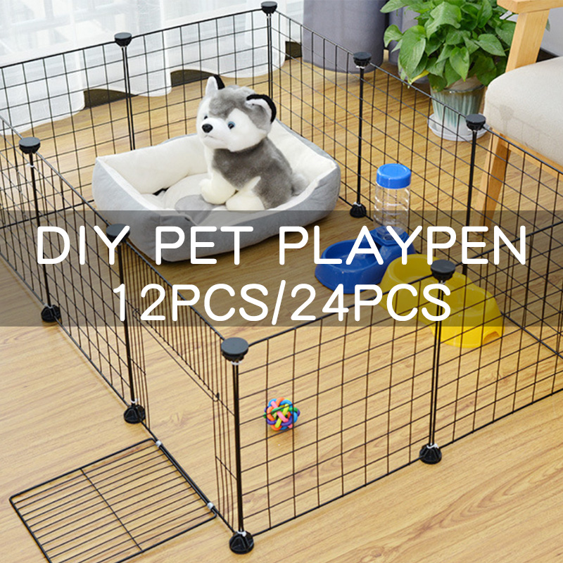 Foldable Assemble Dog Rabbits Guinea Pig Cage Playpen Pet Iron Fence Puppy Kennel House Training Space