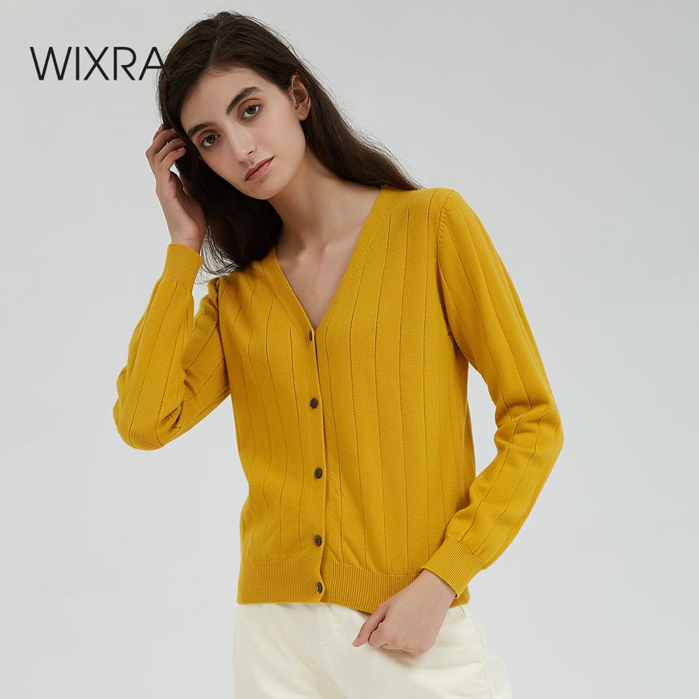 Wixra Women Cardigan Sweater V Neck Solid Loose Knitwear Single Breasted Casual Knit Cardigan Yellow Outwear Autumn Coat