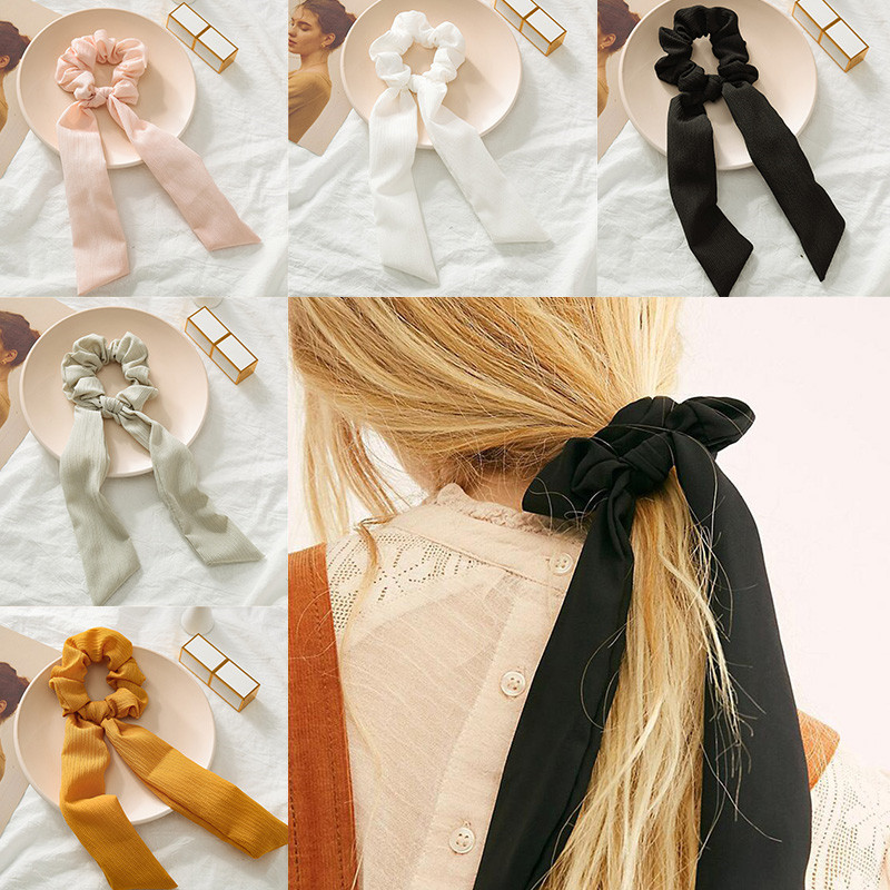 New Women Girls Elegant Candy Colors Knot Ribbon Simple Soft Elastic Hair Bands Scrunchies Rubber Band Headband Hair Accessories