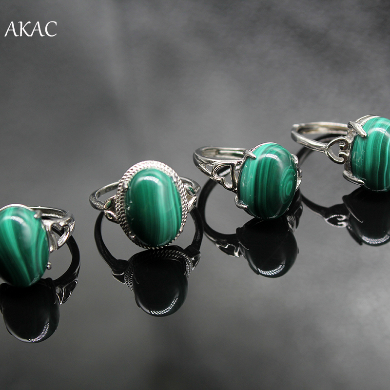 3rings/set 100% Natural Green Malachite Adjustable White Copper Ring For Women Men Ring Send Randomly Approx8-10*12-14mm