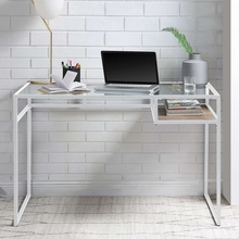 Modern Style Computer Laptop Desk Metal Glass Office Desk Computer Standing Desks Table Home Living Room Office Furniture cheap CN(Origin)