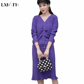 LXMSTH Women Knitted Skirt Suit Set Autumn Winter Lace up Solid V Neck Long Sleeve Sweaters+ Skirts Suits Two Pieces Outfit Lady