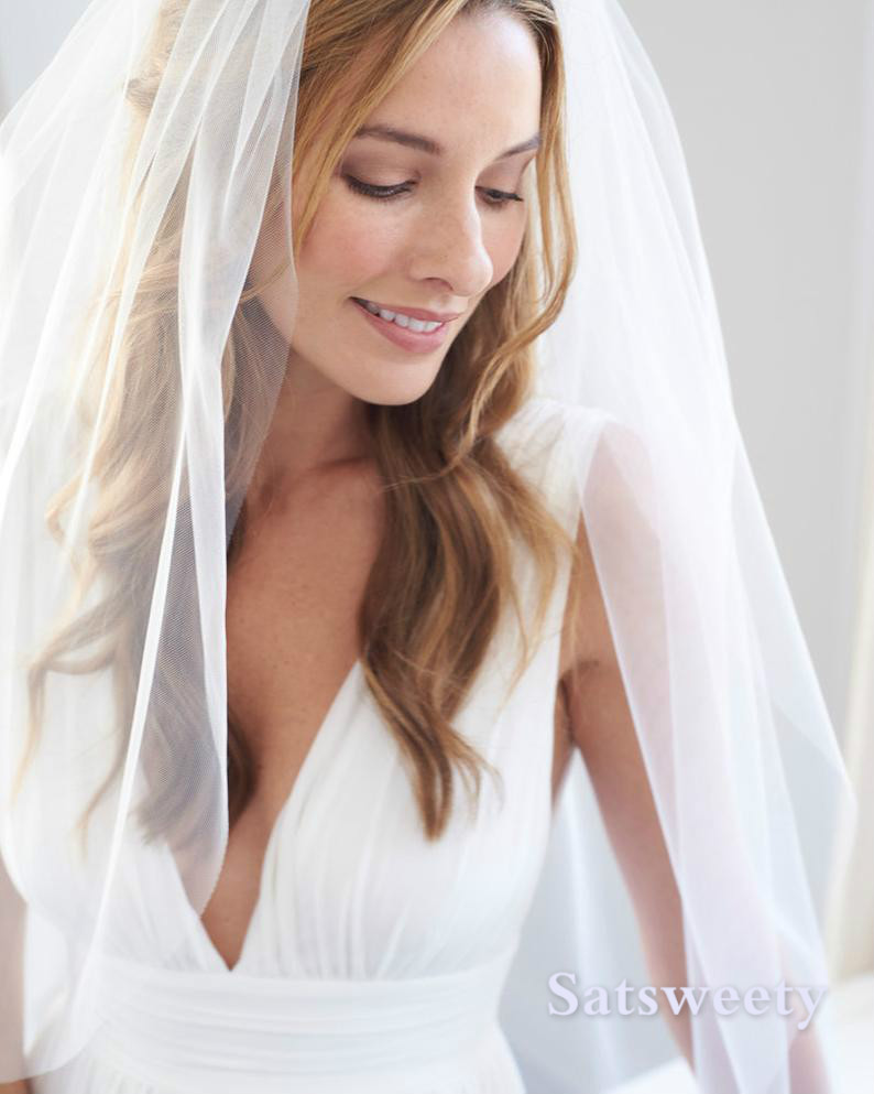 Cheap Woman Veils 1 Layers Fingertip Length With Comb Ivory/white Veil For Bridal Cut Edge Tulle Wedding Veil