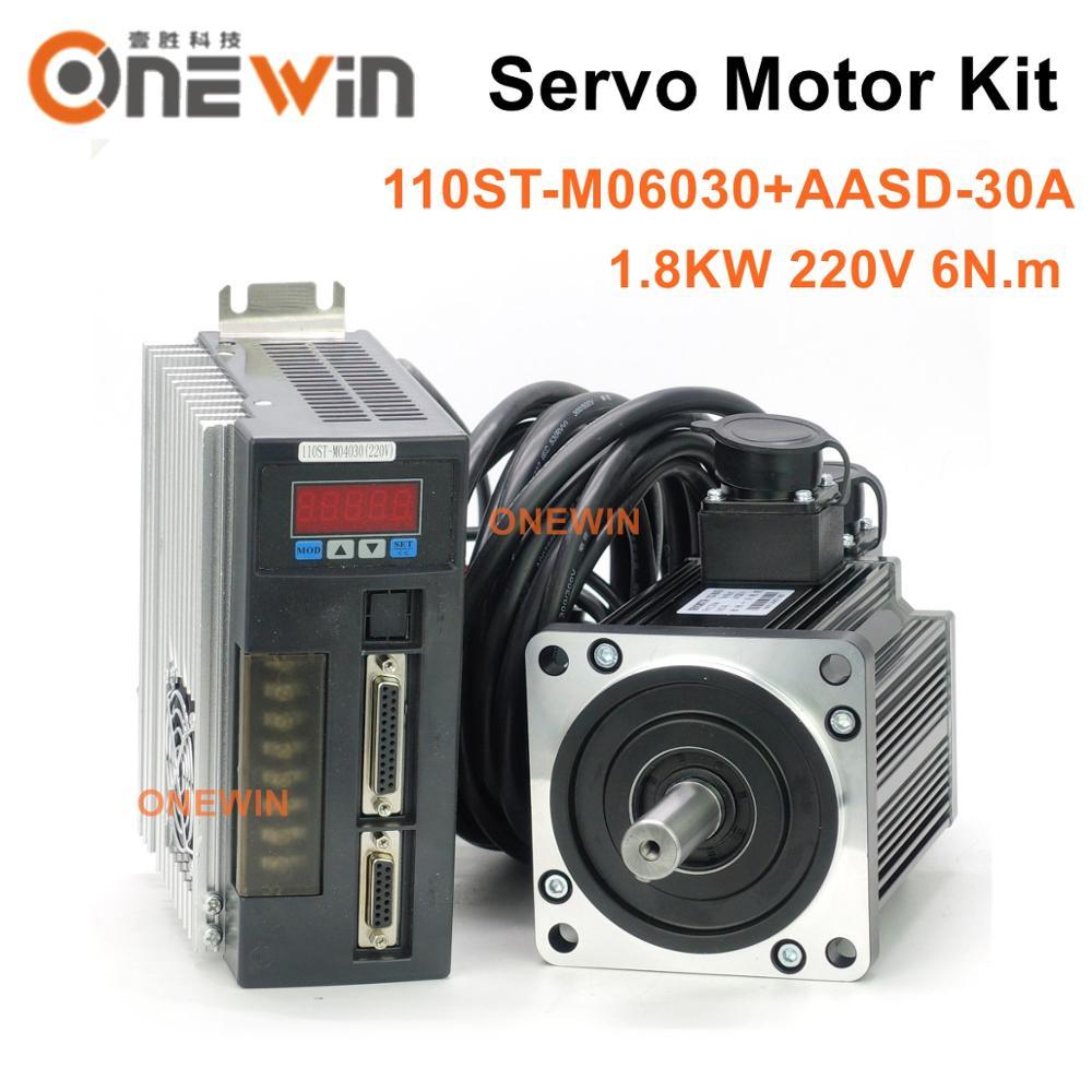 1.8KW AC servo motor kit 110ST-M06030+AASD-30A driver diameter 110mm 220V 6NM 3000rpm