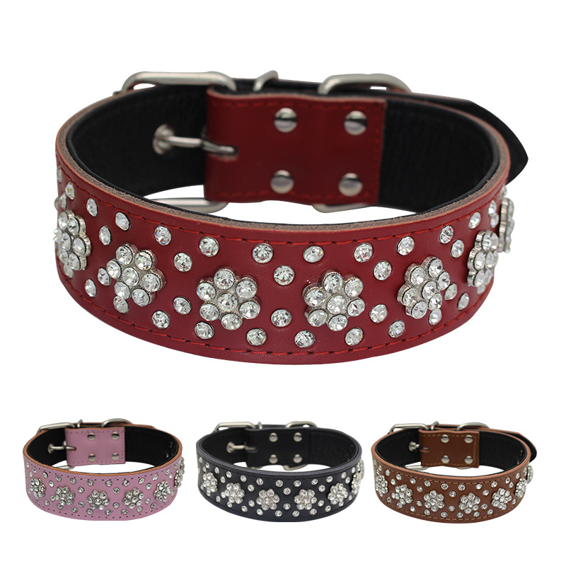 Genuine Leather Embossed Leather Stick Bottom Plum Blossom Diamond Pet Collar Dog Neck Ring Yiwu