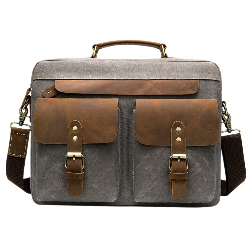 AUAU-Men Briefcases Men's Bag Genuine Leather Business Office Bags For Men Laptop Bag Leather Briefcases Male Lawyer Bags