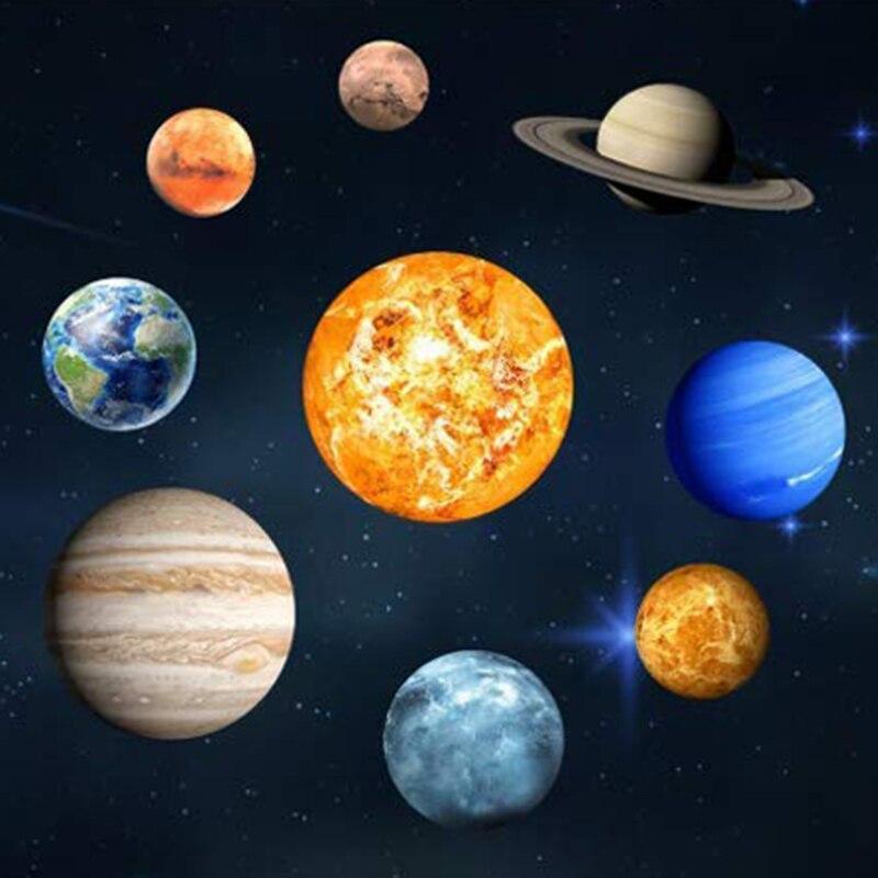 9 шт./компл. 9 Planet солнечная система флуоресцентная настенная палка Вселенная планеты галактика детская комната спальня Светящиеся Настенны...