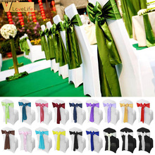 Wedding-Chair Sashes Ribbon Chair-Band Decoration Mariage Satin Party 100/10pcs