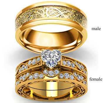 Fashion Jewelry Couple Rings Gold-Color Vintage Dragon Stainless Steel Men Ring Romantic Heart Zircon Ring Set Bridal Ring