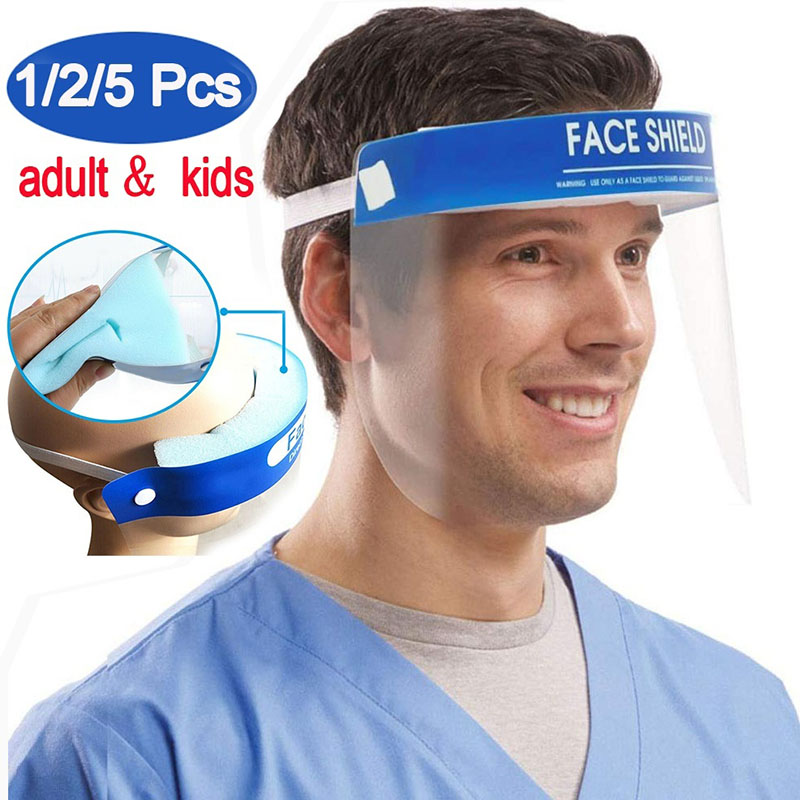 1-10PCS Protective Full Transparent Face Shield Safety Anti-droplets Anti-fog Dust-proof Face Shield Isolation Visor Eye Face