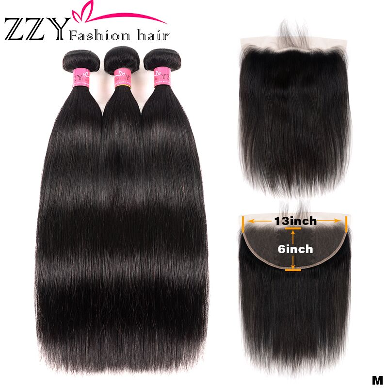 ZZY Fashion Brazilian Straight Hair 3 Bundles With Frontal Non-remy Human Hair Bundles With 13*6 Lace Frontal Closure
