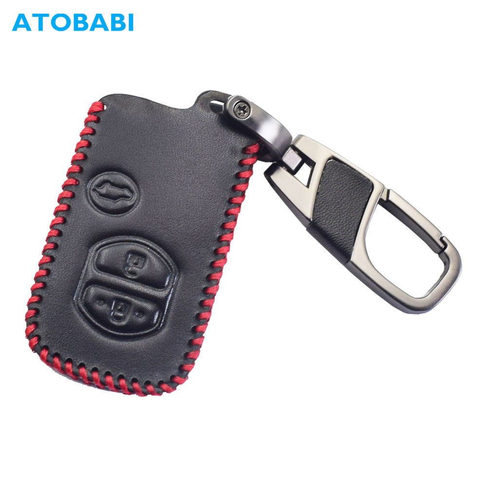 Leather Car Key Cover For Toyota Camry 4Runner Venza Avalon Land Cruiser RAV4 Smart Keychain Holder Remote Control Protect Case