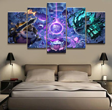 Home Decor Modular Picture 5 Piece Thresh/Garen League of Legends LOL Game Painting Poster Wall For Home Canvas Wholesale(China)
