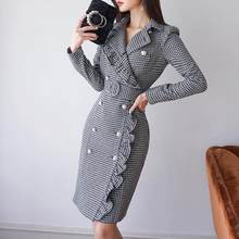 Vintage Double Breasted Plaid Long Blazer Dress Ladies Office Wear Suit Jacket Slim Bodycon Houndstooth Midi Dresses Female 2020(China)