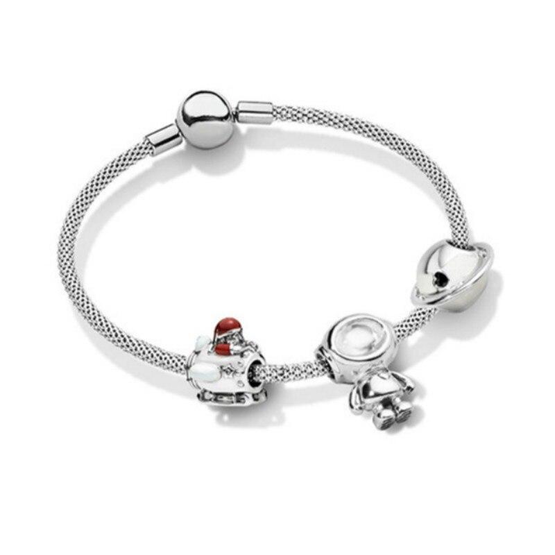 Nouveau 100% 925 argent Sterling planète de l'amour charme émail Bracelet ensemble Fit bricolage Bracelet Original bijoux de mode cadeau pour enfants