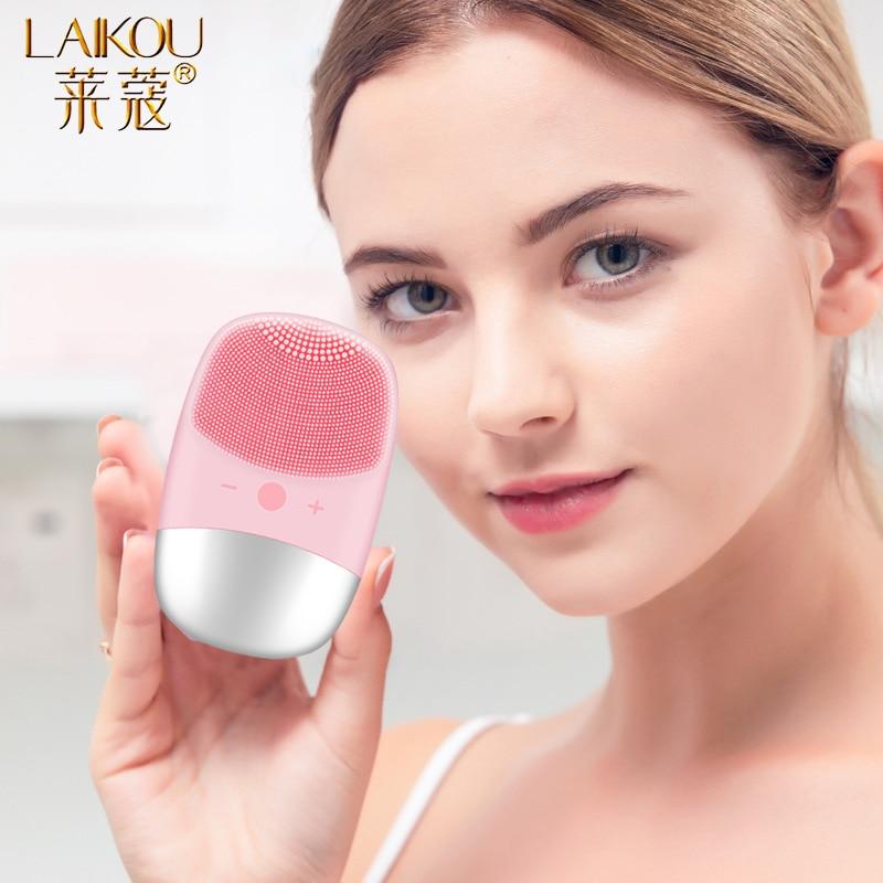 LAIKOU Electric Facial Cleansing Massager Ultrasonic Vibration Face Washing Brush Skin Blackhead Remover Deep Washing Machine