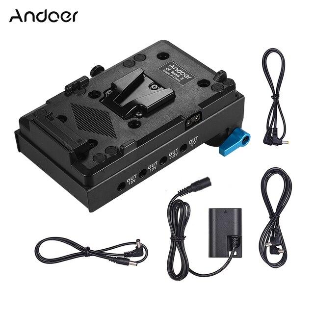 محول لوحة البطارية Andoer V Mount V lock لكاميرات BMCC BMPCC Canon, 5D2/5D3/5D4/80D/6D2/7D2 مع محول بطارية وهمي