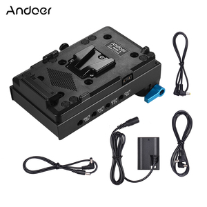 Andoer V Mount V-lock Battery Plate Adapter for BMCC BMPCC Canon 5D2/5D3/5D4/80D/6D2/7D2 with Dummy Battery Adapter