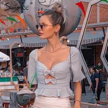 Simplee סקסי bow הולו מתוך קיץ נשים חולצה חולצות חוף ראפלס בציר כחול חולצות ללא משענת תחרה עד טוויסט mujer blusas