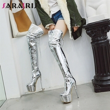 SARAIRIS New Plus Size 33-48 Sexy Metalic Thigh High Boots Women Winter Party Platform Over The Knee Boots High Heel Shoes Woman jialuowei women sexy fashion shoes lace up knee high thin high heel platform thigh high boots pointed stiletto zip leather boots
