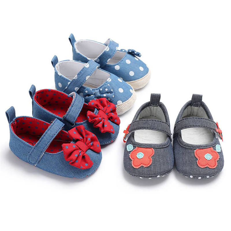 Newborn Girl Infant Shoes Baby Lovely Butterfly-knot Polka Dot Soft Cotton Sole First Walkers Toddler Girl Moccasins Crib Shoes