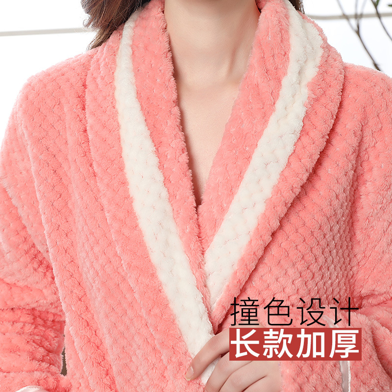 Image 5 - Couple Pajamas 2019 Winter Bathrobe Fashion Long Thick Flannel Couple Bathrobe Loose Plus Size Pajamas Home Clothes Sleepwear