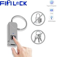 Fipilock Type-C Rechargeable Smart Keyless Fingerprint Lock IP65 Waterproof Anti-Theft Security Padlock Door Luggage Case