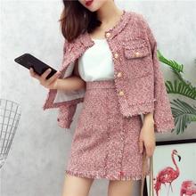 HAMALIEL Высокое качество для женщин комплект из 2 предметов осень зима красный твид кисточкой однобортный пиджак пальто+ бахрома линия юбка костюмы