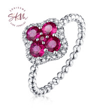 SKM Natural Ruby Diamond Engagement Ring 14K 18K White Gold Halo set diamonds ring for women Flower fine Jewelry lasamero halo 0 052ct 18k gold round cut square center pave set natural diamond pendant necklace chain women fine jewelry