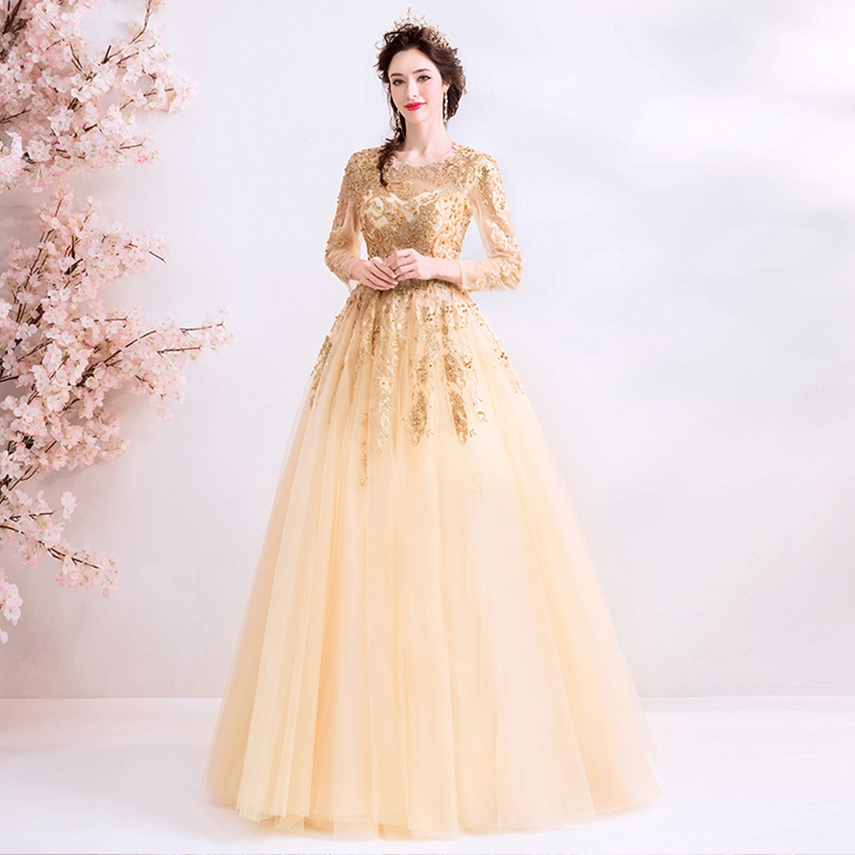 Gold A-Line Long Sleeves Prom Dresses 2020 Women Elegant Appliques Sequins Formal Party Dress Night Evening Gowns Robe De Soiree