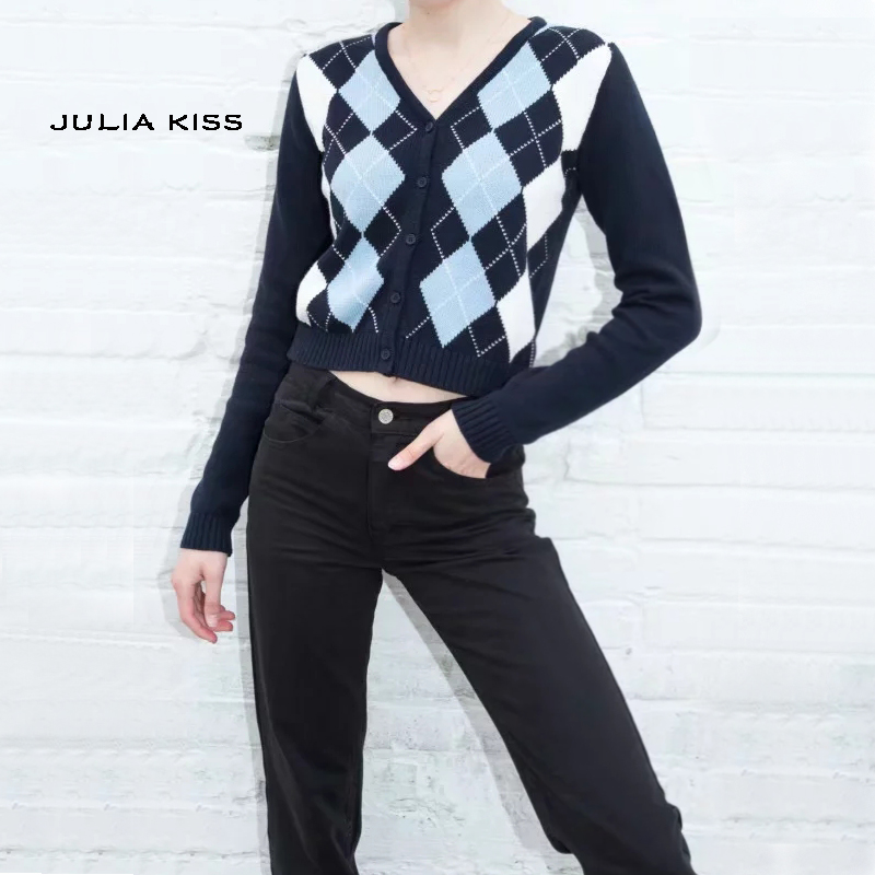 Women V Neck Knit Cardigan In Navy Blue With Light Blue And White Argyle Print On The Front