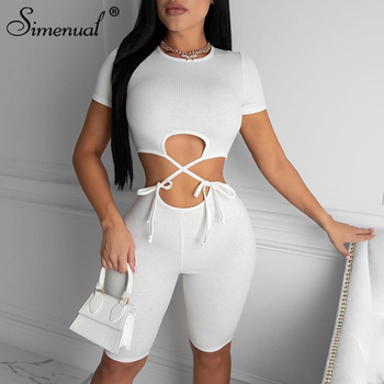 Simenual Ribbed Bandage Bodycon Women Rompers Short Sleeve Hollow Out Solid Playsuits Skinny Sexy Solid Biker Shorts Playsuit grey bodycon shorts with hollow design