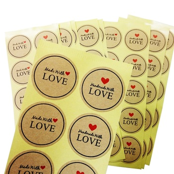 100pcs/pack classic Hand Made With Love Kraft Paper Seal Sticker Envelopes Stickers Gift Packaging Decoration Label