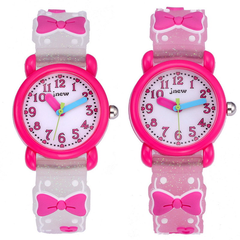 Children Glitter Watch Cute Waterproof Quartz Bow-Knot Girl 3D Silicone Watch Birthday Party Kids Gift Clock