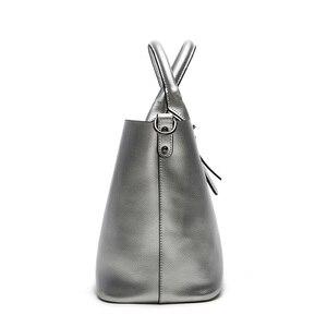Image 5 - Silver Genuine Leather Shoulder Bags for Women 2020 Fashion High Quality Luxury Handbags Big Messenger Bag Tote Ladies Hand Bags