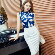 korean fashion two-piece clothing set women clothes Sleeveless print vest blouse top + Package hip white skirt suit vestido(China)