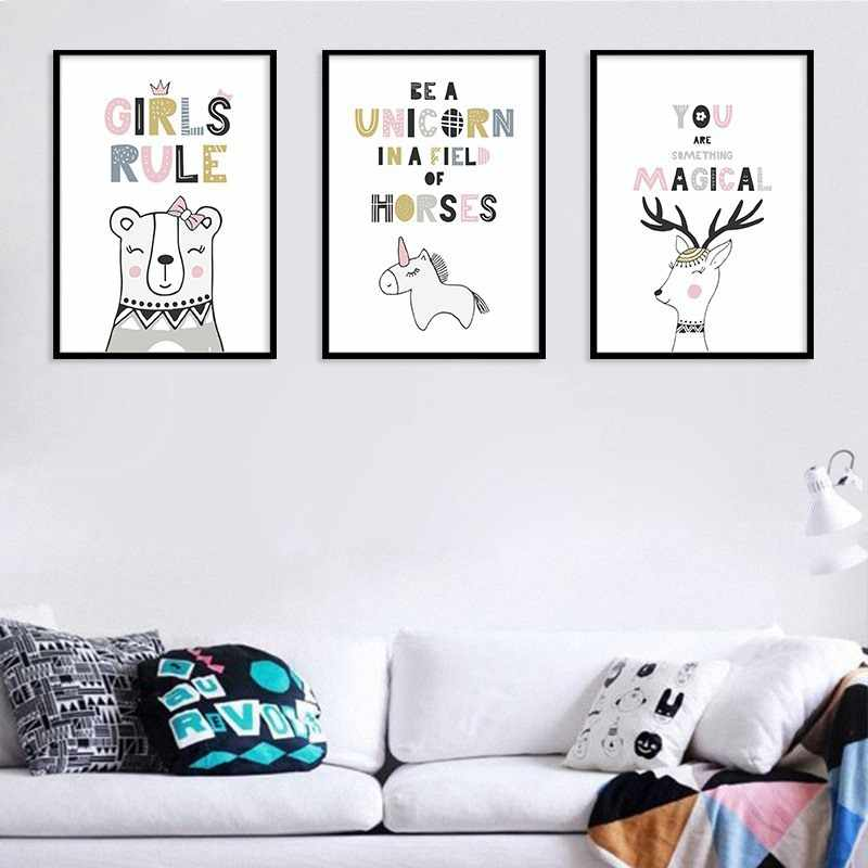 Girls Rules English Proverbs Rooms Unicorn Horser Decorative Painting Children S Wall Hanging Canvas Art Calligraphy Aliexpress
