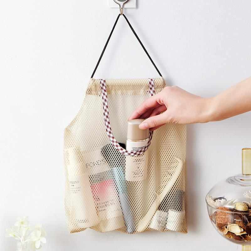 Bathroom Hanging Storage Basket Baby Kids Bath Toys Storage Box Folding Mesh Storage Bag Shopping Bag
