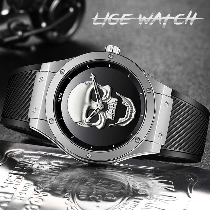 2019 חדש ליגע גברים אופנה עסקי קוורץ שעון גולגולת סיליקון רצועה עמיד למים ספורט שעונים Mens למעלה מותג יוקרה הכרונוגרף