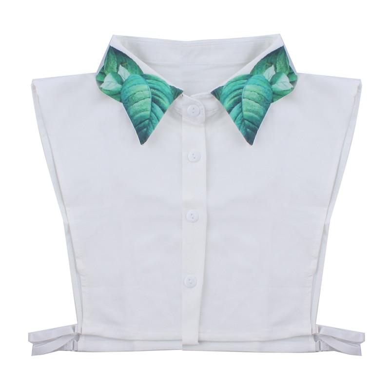 White Fake Tie Green Leaf Printing Shirt Fake Collar Sweater Shirt Fake Tie Clothing Accessories New Fashion