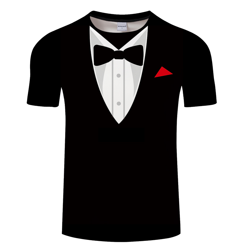 New Casual Bow Tie Printed 3D T Shirts Mens Vacation T-Shirt For Male  Short Sleeve Tee Tops Man Streetwear Drop Ship