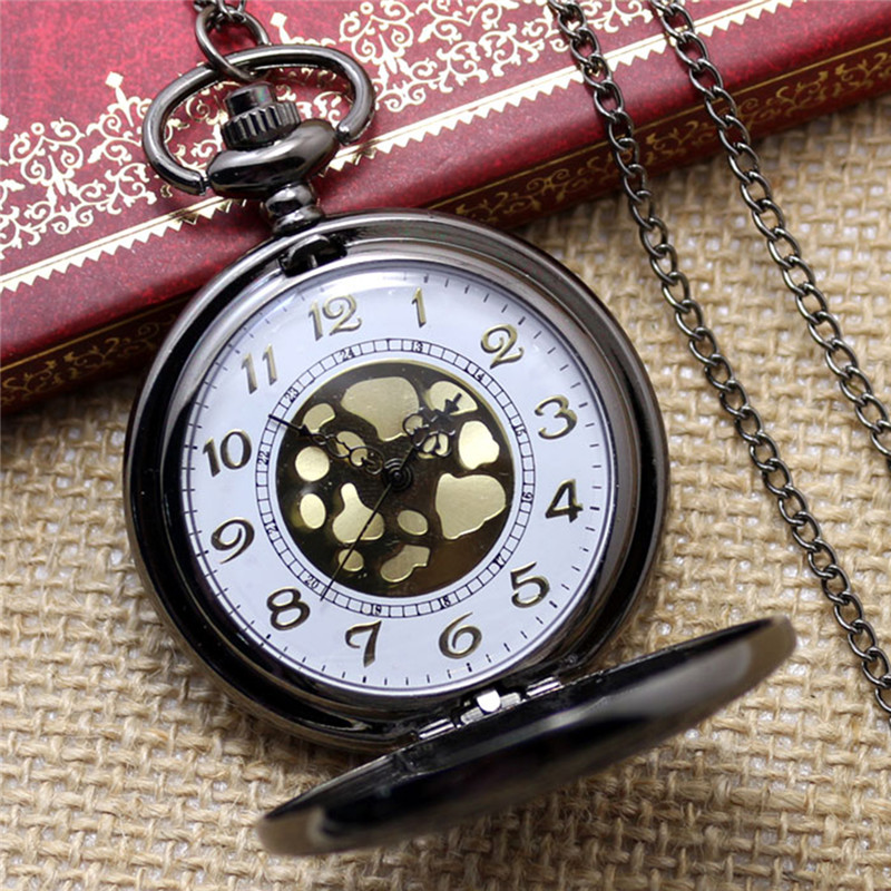 Fashion Pocket Watch Black Quartz Watch Clock Steampunk Fob Watches For Women Necklace Pendant With Chain