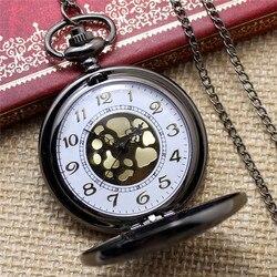Mode Zakhorloge Zwart Quartz Horloge Klok Steampunk Fob Horloges voor Vrouwen Ketting Hanger met Ketting