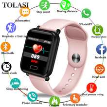 купить 2019 New Pink Smart Watch Women Men Fitness Watch Heart Rate Blood Pressure monitor Smart Sport Watches for iOS Android PK GT08 онлайн
