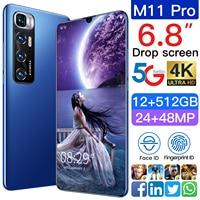 Nuovo xiaomi M11 Pro 6.8 pollici versione globale Smartphone Android 10 24MP 48MP HD 12GB 512GB Dual Sim sbloccato telefono cellulare Deca Core