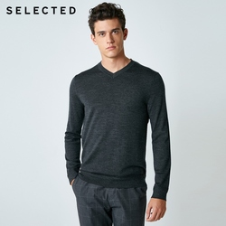 SELECTED 100% Wool Sweater Italian Merino V Collar Knit Clothes Men's Lightweight Knitwear Pullovers S | 418424501 4