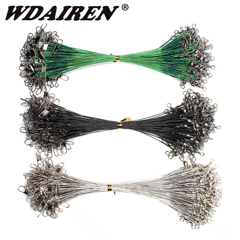 20pcs 15/20/25cm Stainless Steel Wire Leader Fishing Leash With Swivel 50LB Anti-bite Line Leadcore For Lure Accessories Pike